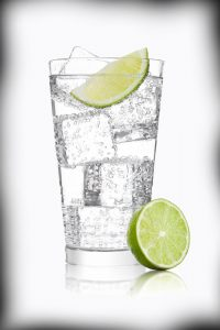 A glass of Lime water and ice